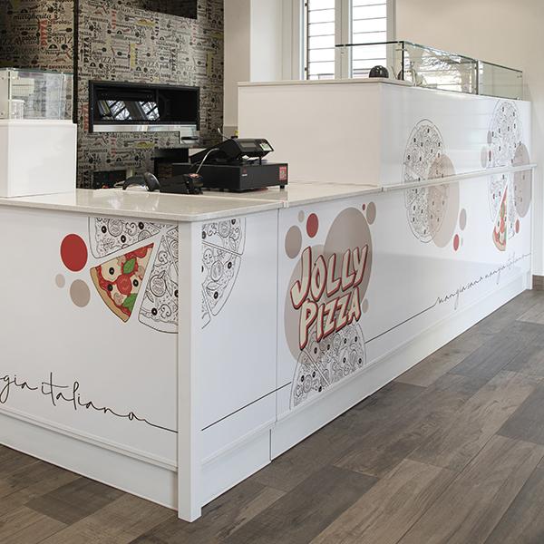 hubmira progettazione bancone jolly pizza cantù grafica design e applicazione